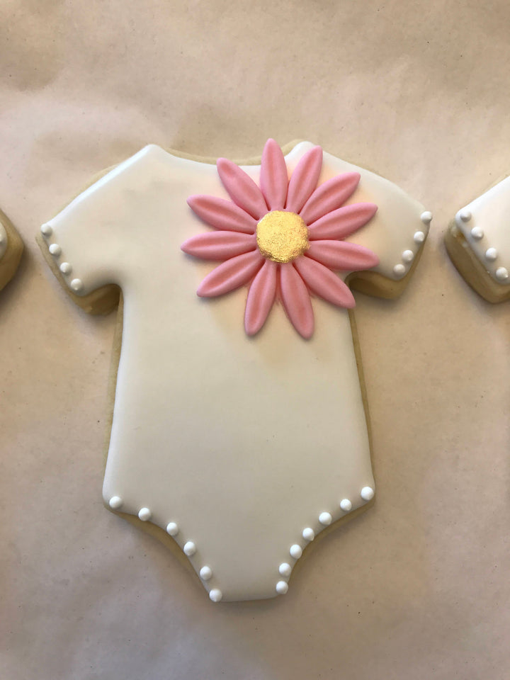 White Baby Girl Onesie Cookies with Pink Flower