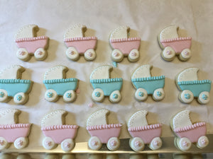 Blue and Pink Baby Carriage Cookies | Gender Reveal Baby Shower Cookies