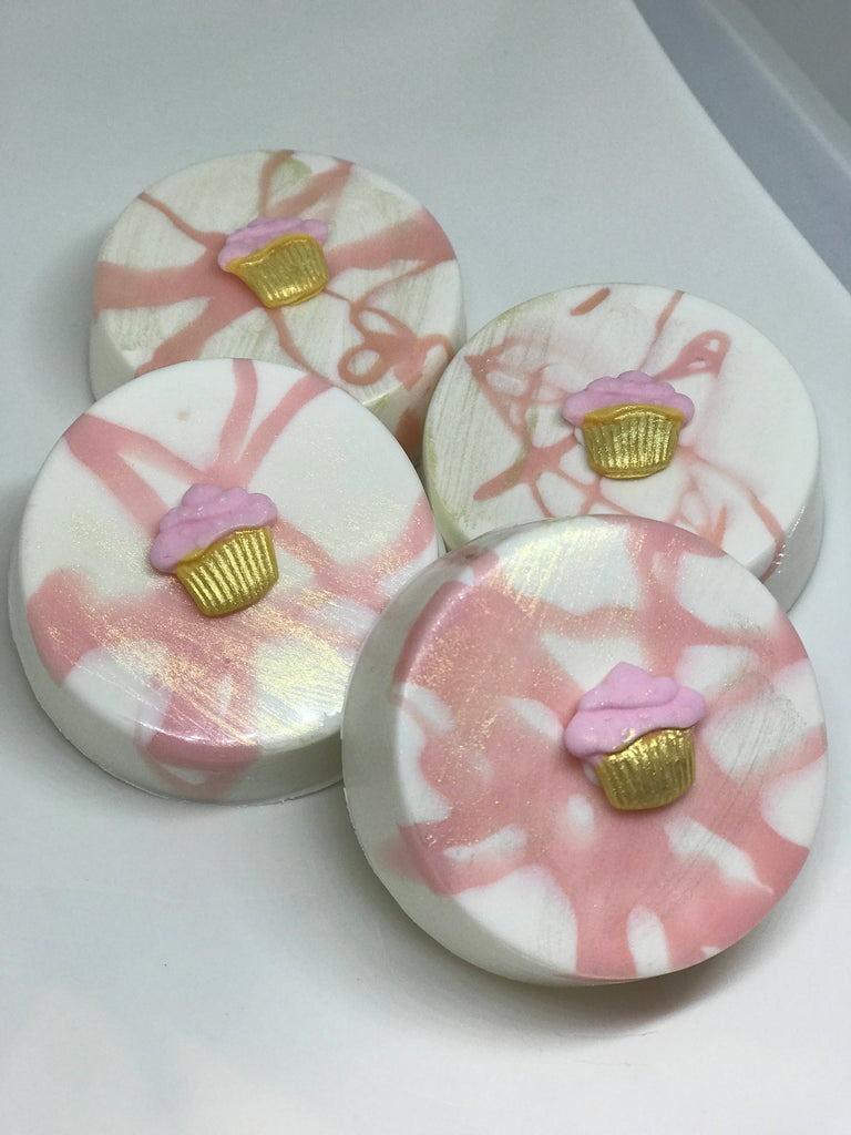 Pink and Gold Chocolate Covered Oreos with Edible Cupcake Emblem