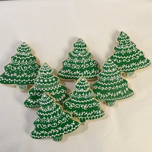 Green and White Christmas Tree Cookies