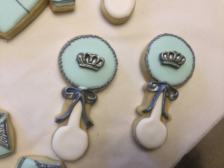 Baby Blue Royal Prince Rattle Cookies | King Royalty Theme Baby Shower