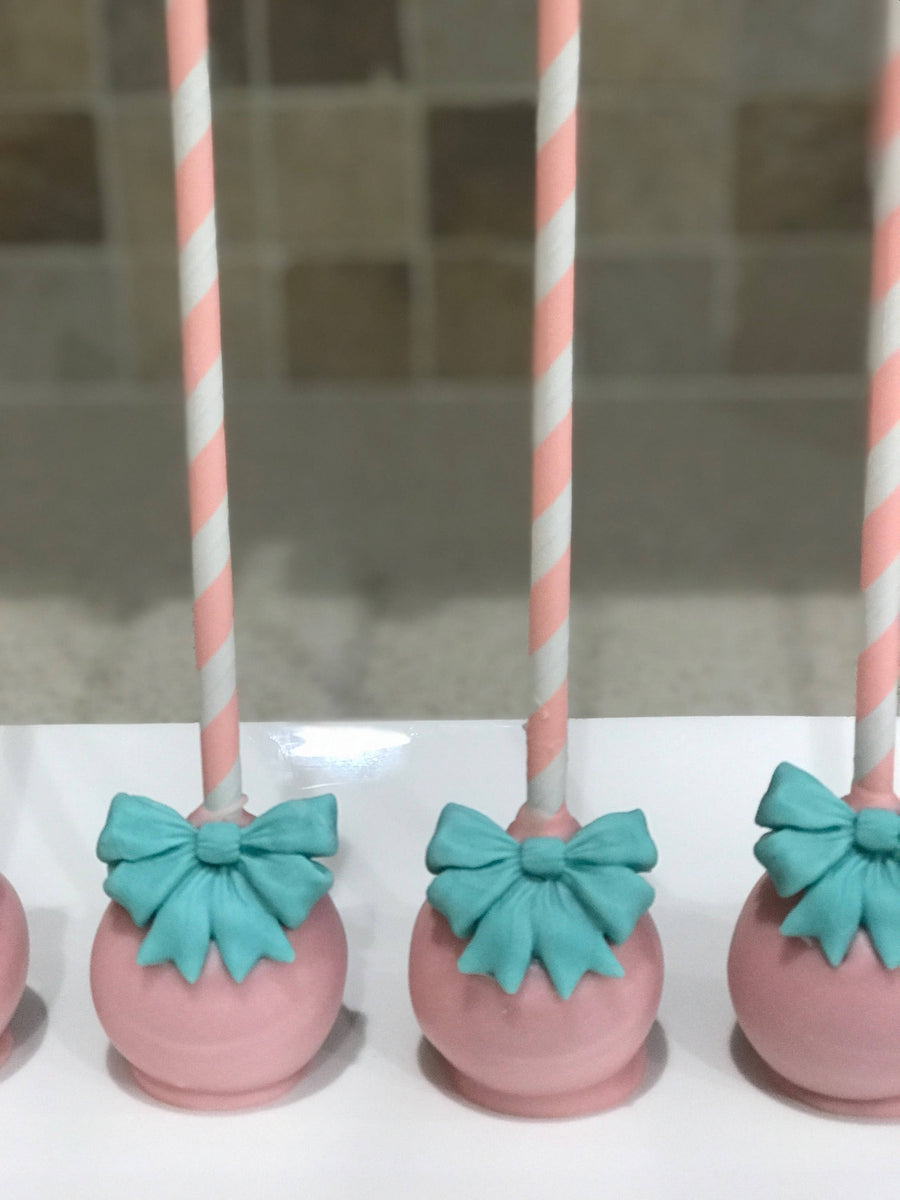 Turquoise and Pink Cake Pop with Bow