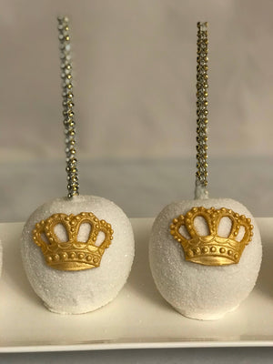 White Sparkle Royal Chocolate Covered Apples | Royalty Prince King Princess Queen Theme