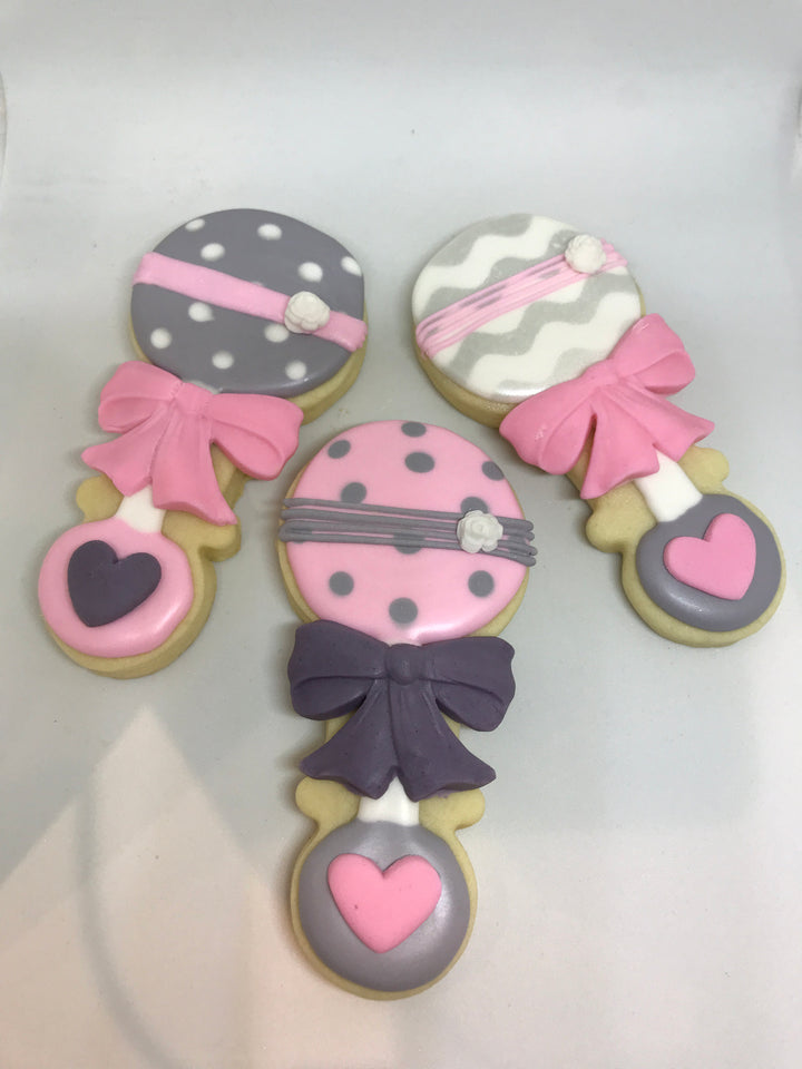 Pink and Gray Baby Girl Rattle Cookies