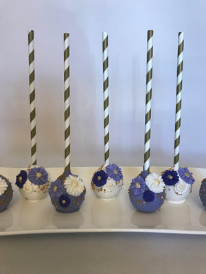 Shades of Blue Flower Cake Pops
