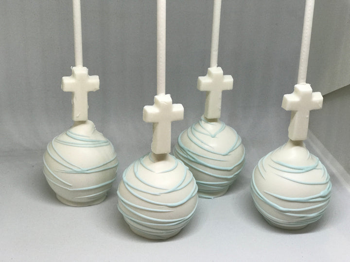 Light Blue and White Cross Cake Pops