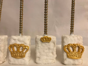 White and Gold Prince Rice Krispie Treats | Royal King Queen Theme | Royalty Princess Theme Dessert