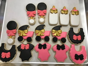 Pink Gold Black and White Baby Shower Cookie Assortment
