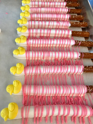 Pink Baby Shower Rubber Ducky Chocolate Covered Pretzels