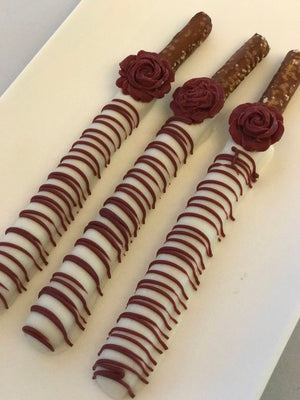 Maroon and White Chocolate Pretzels with Edible Rose