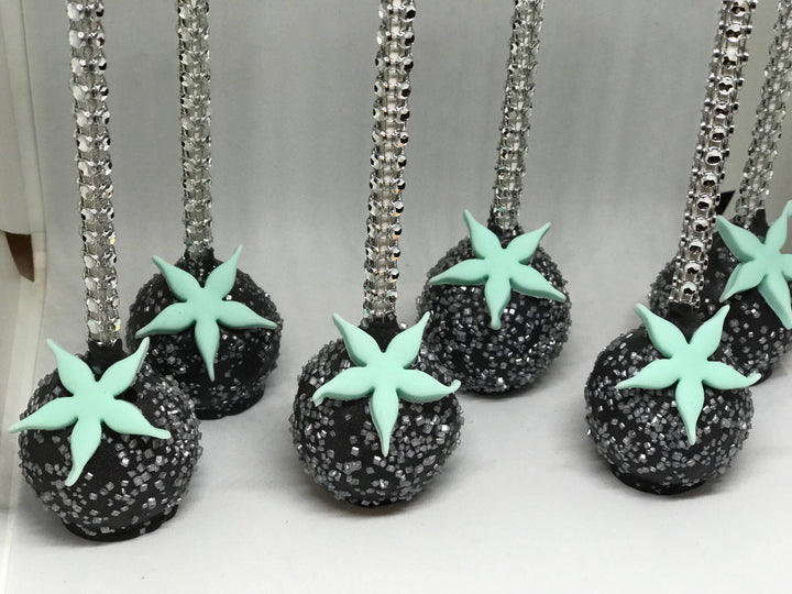 Starfish Flower Sprinkle Cake Pops with Bling Stick