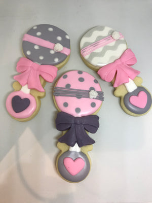 Pink and Gray Baby Shower Cookie Assortment