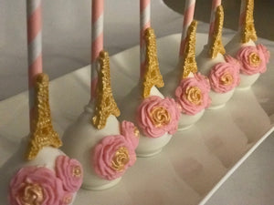 Pink and Gold Paris Theme Cake Pops