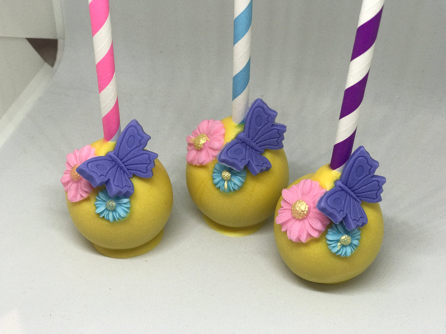 Colorful Butterfly Flower Cake Pops