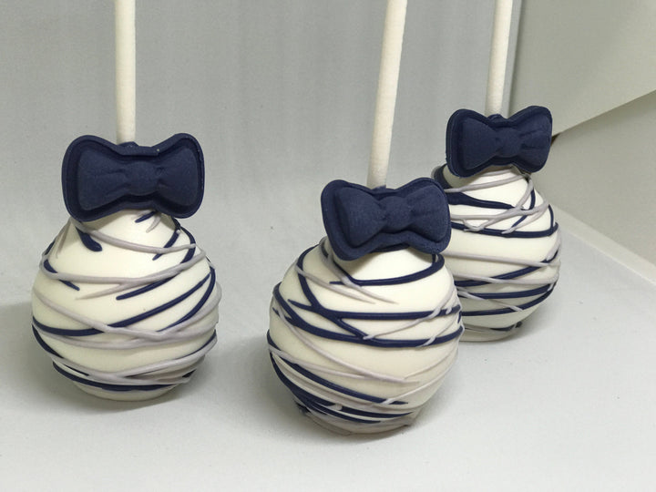 Navy Blue and Silver Bowtie Cake Pops