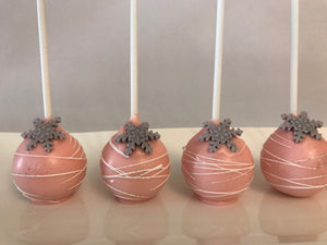 Pink and Silver Snowflake Cake Pops with White Drizzle