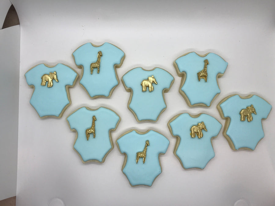 Baby Onesie Cookie with Edible Elephant and Giraffe