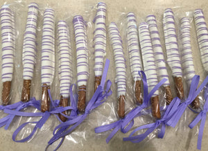Purple and White Drizzle Chocolate Covered Pretzel Rods