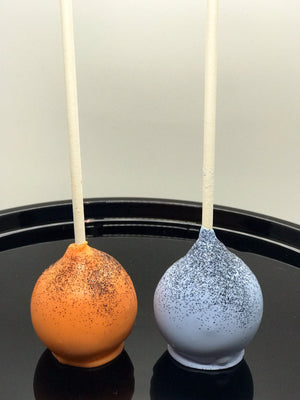 Halloween Cake Pops, Purple and Orange with Black Edible Glitter
