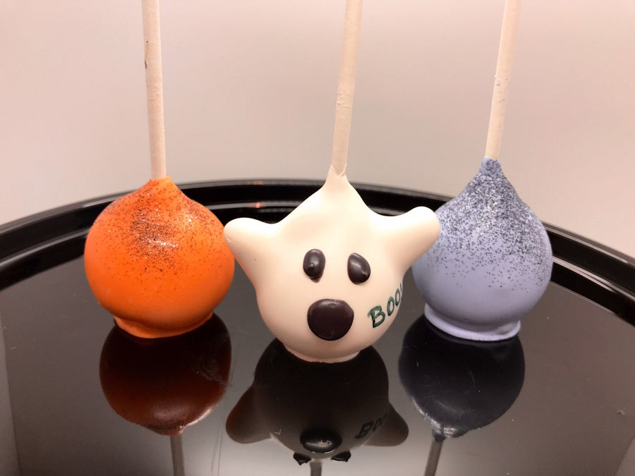 Halloween Ghost Cake Pops with Orange and Purple Cake Pops with Black Glitter