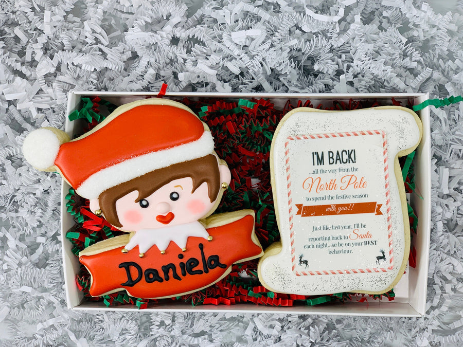 Personalized Elf Decorated Sugar Cookie with I'm Back Letter Cookie- With Gift Box