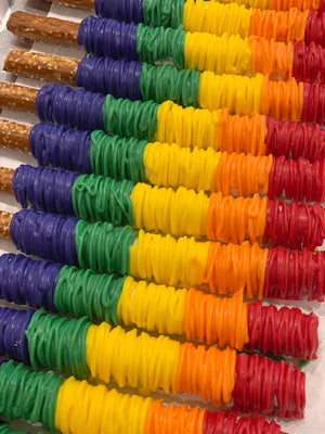 Rainbow Colors Chocolate Covered Pretzel Rods, Blue, Red, Yellow, Orange, Green