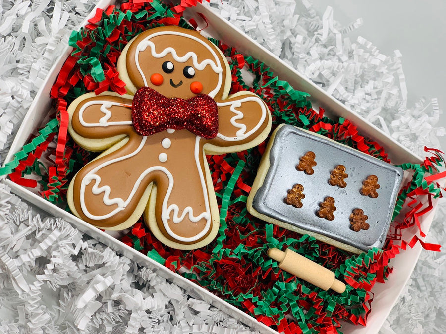 Elf Baking Cookie Tray with Wooden Rolling Pin and Gingerbread Man Sugar Cookie Set