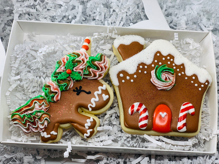 Magical Christmas Unicorn with Gingerbread House Sugar Cookie Decorated Gift Set