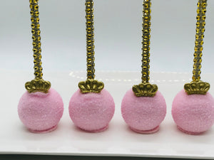 Pink and Gold Crown Cake Pops