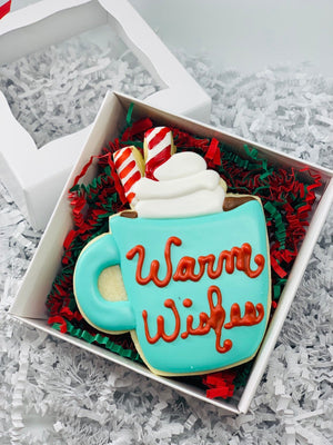 Warm Wishes Hot Chocolate Mug Decorated Sugar Cookie Gift Box with Gift Card Option