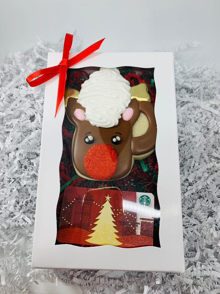 Rudolph Hot Chocolate Mug Decorated Sugar Cookie Gift Box with Gift Card Option
