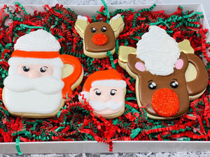 Santa and Reindeer Mug with Marshallows Decorated Sugar Cookie Gift Box