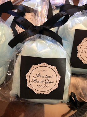 Birth Announcement Cotton Candy Favor Bags, Custom Label