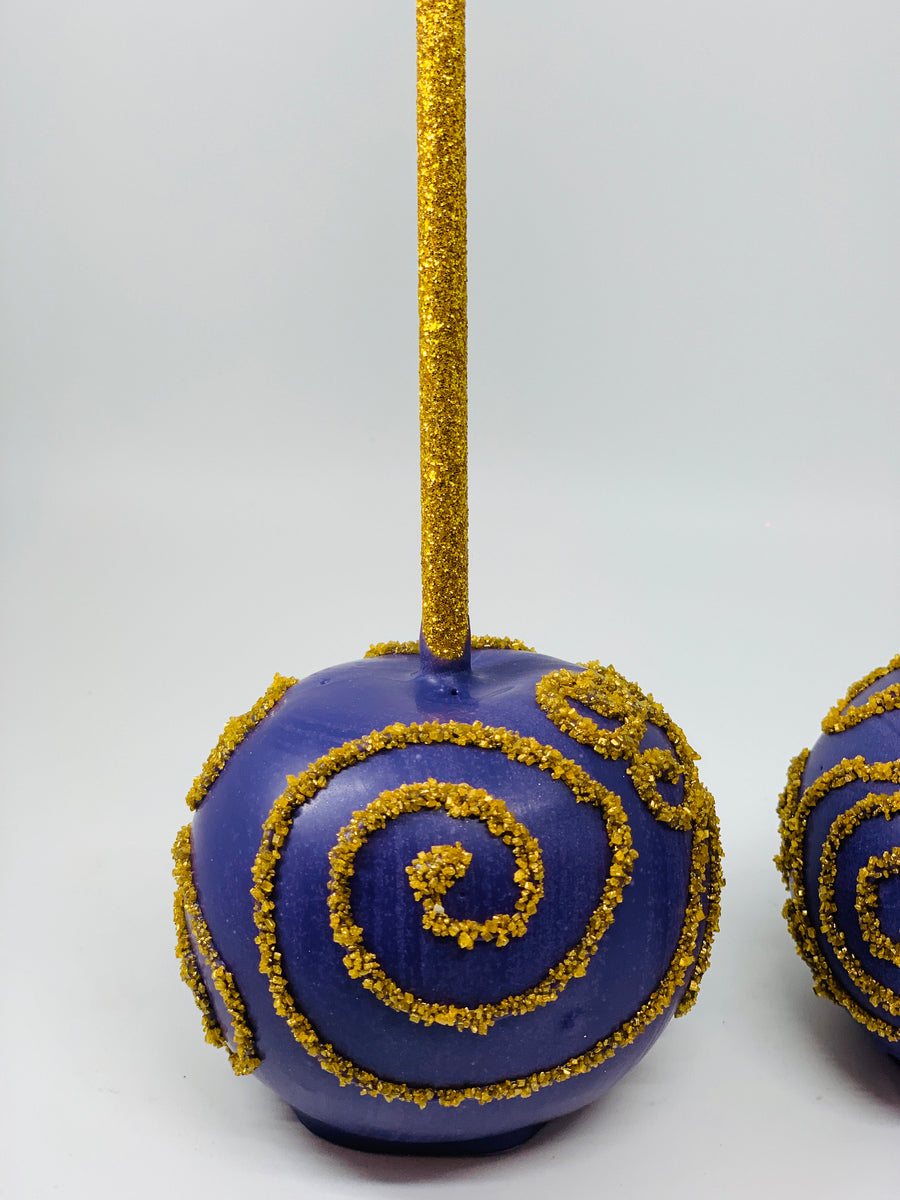 Purple and Gold Swirl Chocolate Covered Apples
