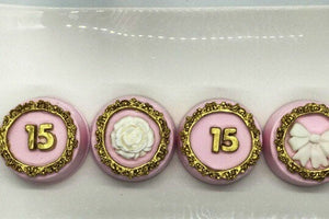 Birthday Number Chocolate Covered Oreos in Pink and Gold with White Flower