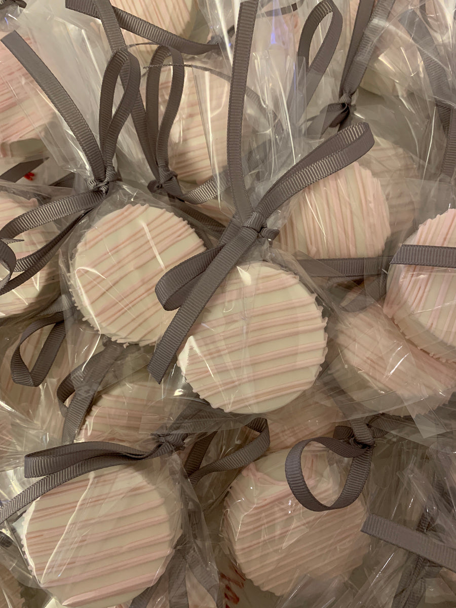 Light Pink Drizzled White Chocolate Covered Oreos