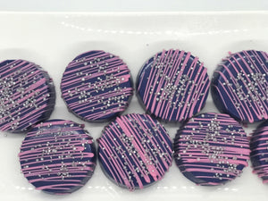 Navy Blue and Pink Chocolate Covered Oreos with Silver Sprinkles