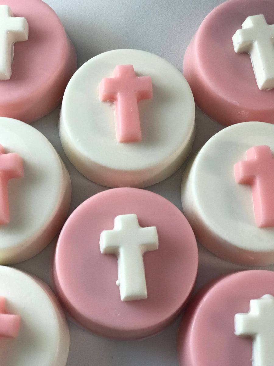 Pink and White Cross Chocolate Covered Oreos