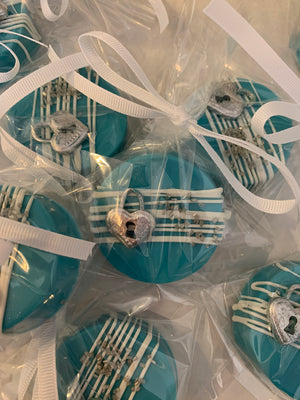 Teal Blue Chocolate Covered Oreo with Silver Lock