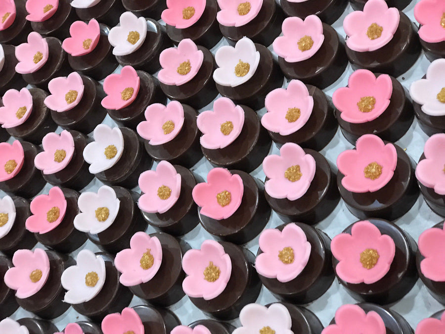 Chocolate Covered Oreos with Ombre Pink Flowers