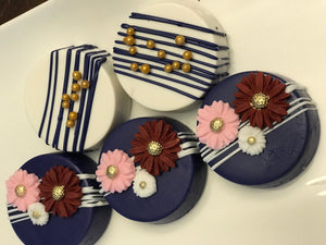 Navy Blue with Pink and Maroon Flower Chocolate Covered Oreos