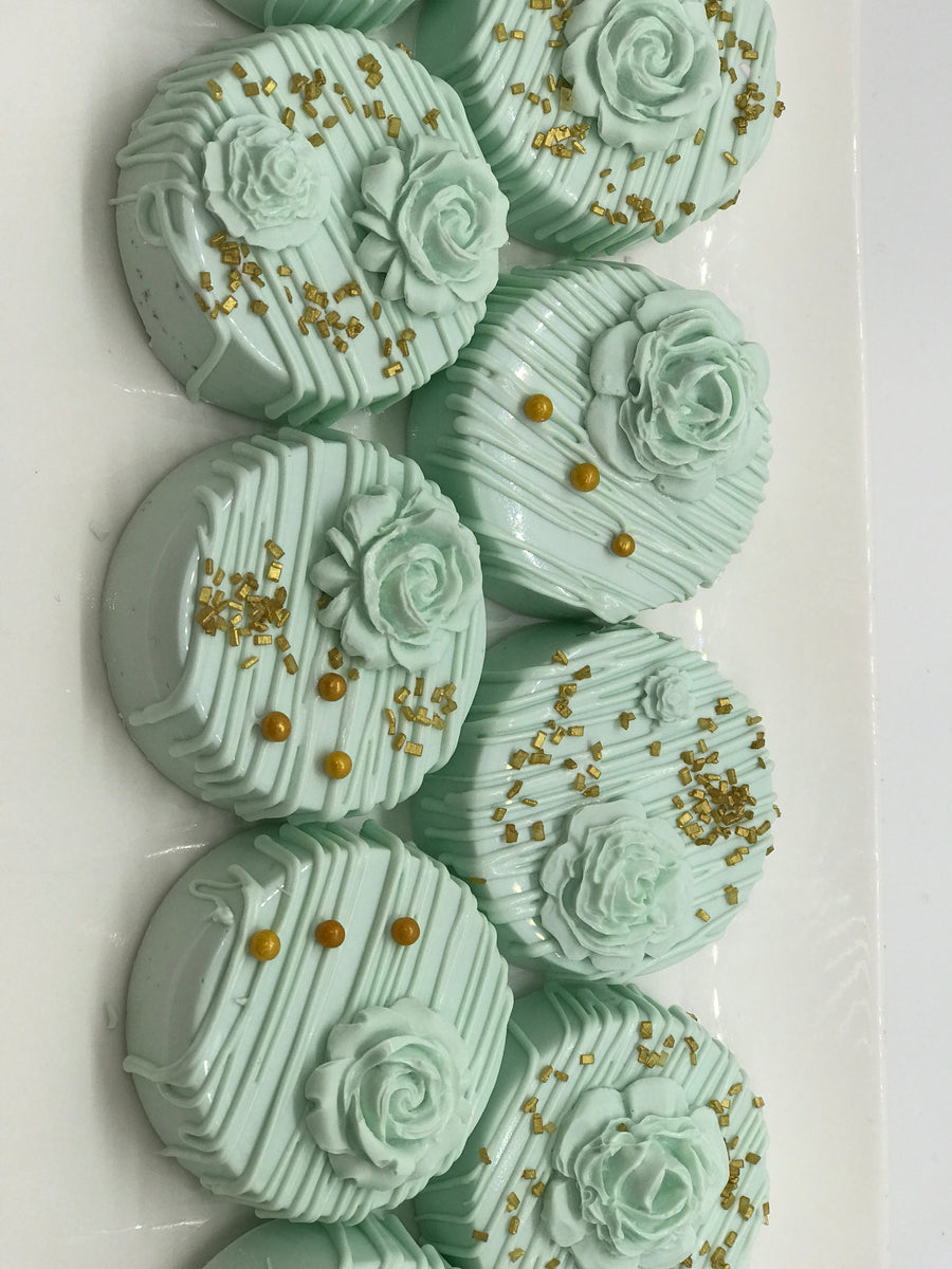 Mint Flower Chocolate Covered Oreos