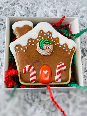 Magical Christmas Unicorn With Gingerbread House Sugar Cookie