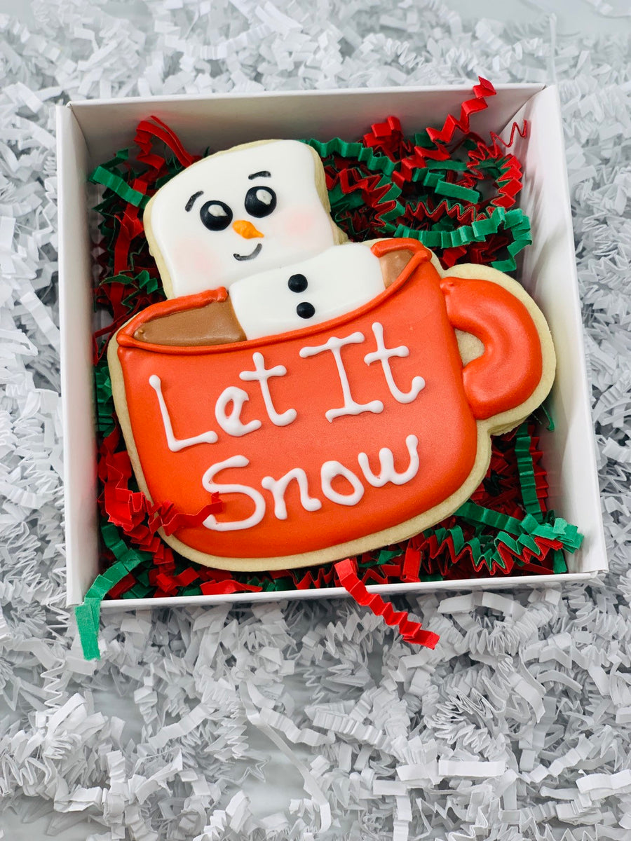 Marshmallow in Hot Chocolate Cup Decorated Sugar Cookie Gift Box with Gift Card Option