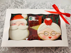 Santa Claus and Mrs Claus Decorated Sugar Cookie Gift Box with Gift Card Option