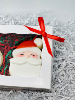 Santa Claus and Mrs Claus Decorated Sugar Cookie Gift Box