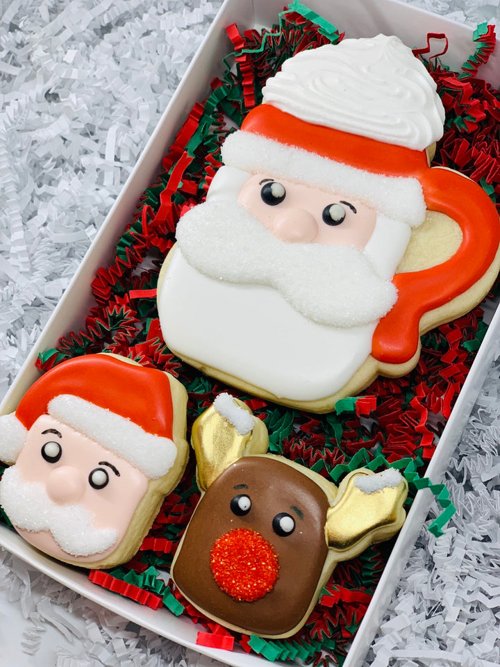 Santa Claus Mug and Marshallow Decorated Sugar Cookie Gift Box