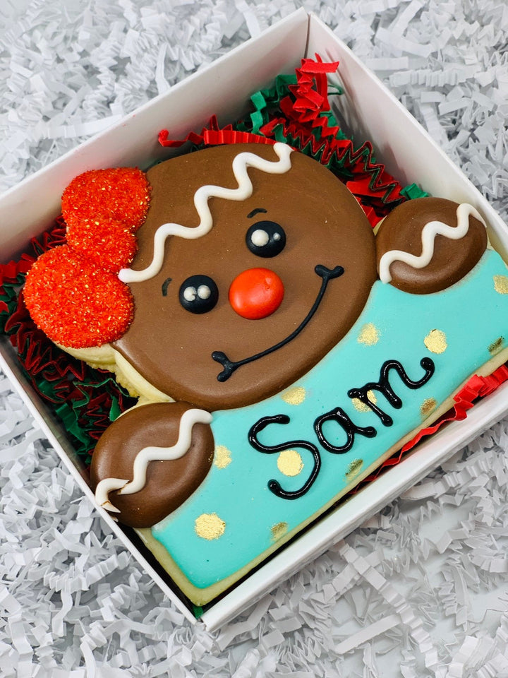 Gingerbread Boy or Girl Personalized Decorated Sugar Cookie Gift Box