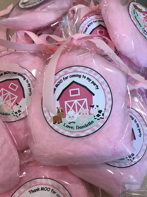 12 Farm Theme Cotton Candy Party Favors Bags
