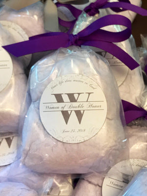 Light Purple Party Cotton Candy Favor with Custom Label, Any Occasion